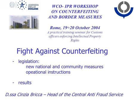 ON COUNTERFEITING AND BORDER MEASURES