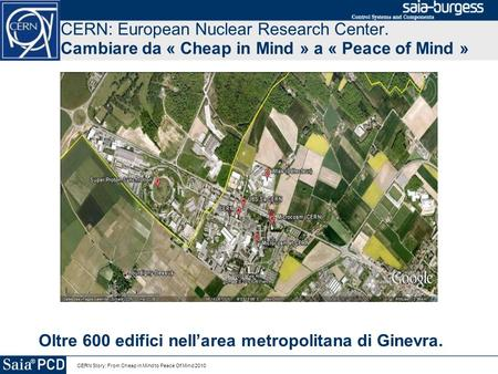 CERN Story: From Cheap in Mind to Peace Of Mind 2010 CERN: European Nuclear Research Center. Cambiare da « Cheap in Mind » a « Peace of Mind » Oltre 600.