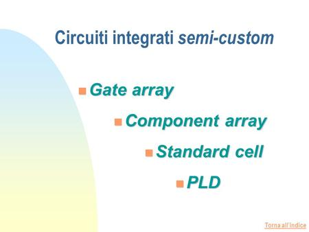 Torna allindice Gate array Component array Gate array Component array Standard cell Standard cell PLD PLD Circuiti integrati semi-custom.