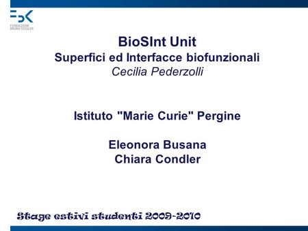 BioSInt Unit Superfici ed Interfacce biofunzionali Cecilia Pederzolli