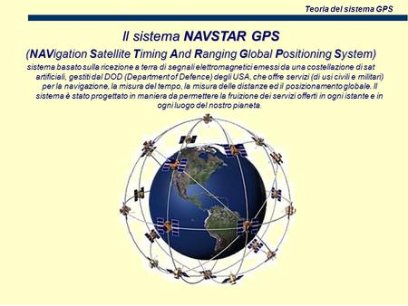 Teoria del sistema GPS Il sistema NAVSTAR GPS (NAVigation Satellite Timing And Ranging Global Positioning System) sistema basato sulla ricezione a terra.