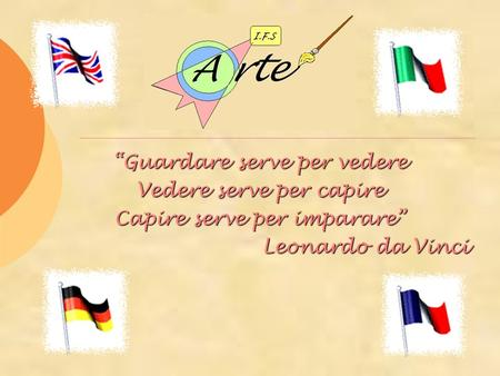 Guardare serve per vedere Vedere serve per capire Capire serve per imparare Leonardo da Vinci Leonardo da Vinci.