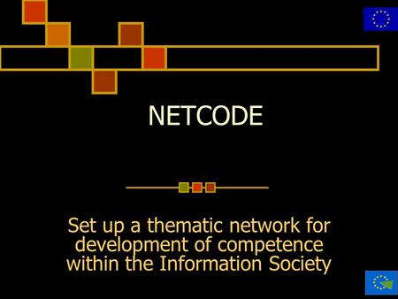 20 maggio 2002 NETCODE Set up a thematic network for development of competence within the Information Society.