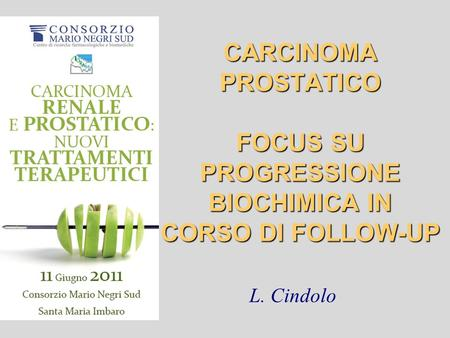 CARCINOMA PROSTATICO FOCUS SU PROGRESSIONE BIOCHIMICA IN CORSO DI FOLLOW-UP L. Cindolo.