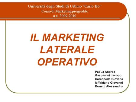 IL MARKETING LATERALE OPERATIVO