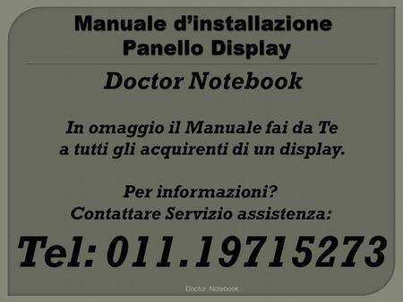 Manuale d'installazione Panello Display