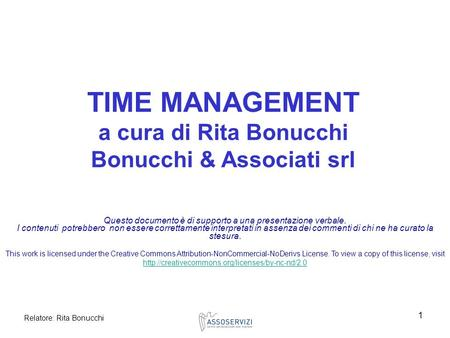 TIME MANAGEMENT a cura di Rita Bonucchi Bonucchi & Associati srl