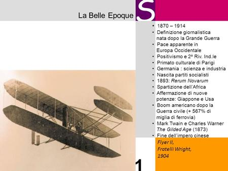 S 1 La Belle Epoque 1870 – 1914 Flyer II, Fratelli Wright, 1904