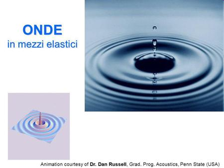 ONDE in mezzi elastici Animation courtesy of Dr. Dan Russell, Grad. Prog. Acoustics, Penn State (USA)