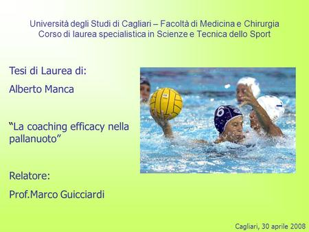 """La coaching efficacy nella pallanuoto"""