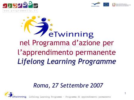 Roma, 27 Settembre 2007 Lifelong Learning Programme nel Programma dazione per lapprendimento permanente Lifelong Learning Programme 1.