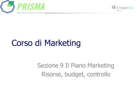 Corso di Marketing Sezione 9 Il Piano Marketing Risorse, budget, controllo.