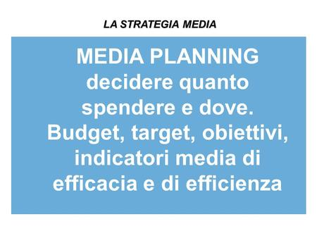 LA STRATEGIA MEDIA MEDIA PLANNING decidere quanto spendere e dove. Budget, target, obiettivi, indicatori media di efficacia e di efficienza.