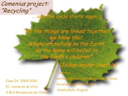 … and the cycle starts again… All the things are linked together: we know that. Whatever befalls to the Earth, so the same will befall to the Earths children.