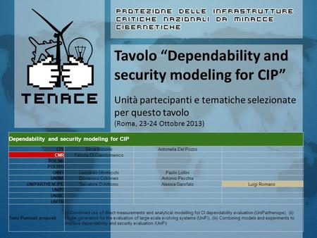 Dependability and security modeling for CIP CISSilvia BonomiAntonella Del Pozzo CNRFelicita Di Giandomenico POLIMI POLITO UNIFILeonardo MontecchiPaolo.