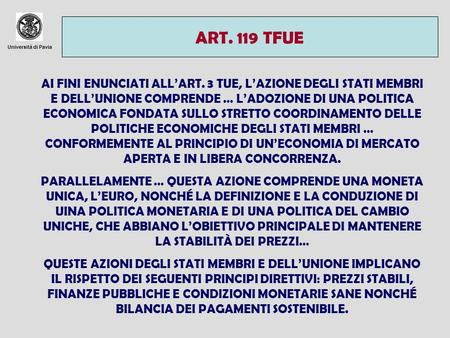 ART. 119 TFUE Università di Pavia