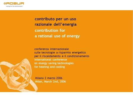 razionale dell'energia contribution for a rational use of energy