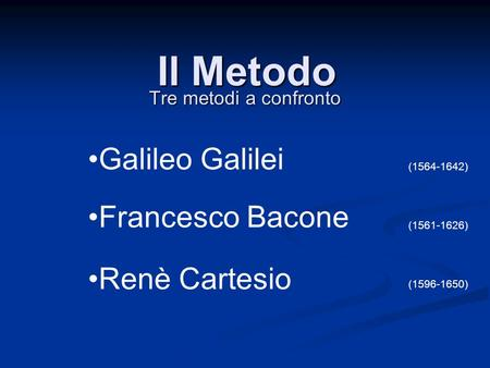 Il Metodo Galileo Galilei Francesco Bacone Renè Cartesio