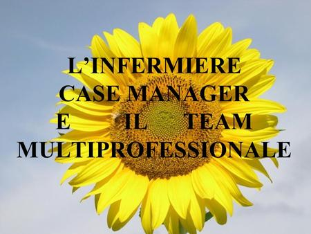 LINFERMIERE CASE MANAGER E IL TEAM MULTIPROFESSIONALE.