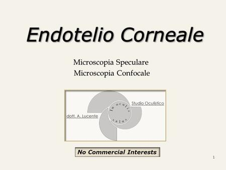 Microscopia Speculare Microscopia Confocale Microscopia Confocale 1 No Commercial Interests.