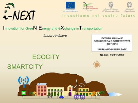 ECOCITY SMARTCITY I nnovation for Gree N E nergy and e X change in T ransportation Laura Andaloro Napoli, 16/11/2012.