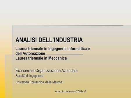 ANALISI DELL'INDUSTRIA