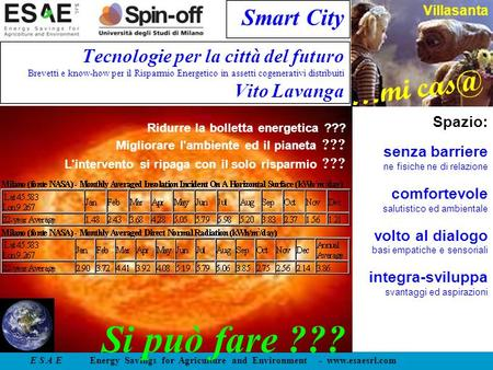 E S A E Energy Savings for Agriculture and Environment -  …mi Villasanta Smart City Tecnologie per la città del futuro Brevetti e know-how.