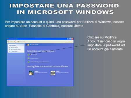 Per impostare un account e quindi una password per lutilizzo di Windows, occorre andare su Start, Pannello di Controllo, Account Utente Cliccare su Modifica.