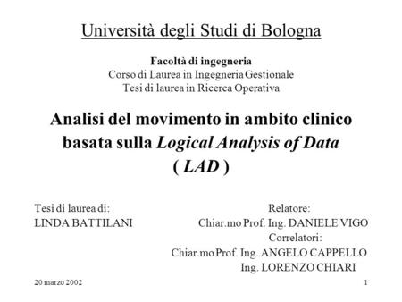 Analisi del movimento in ambito clinico