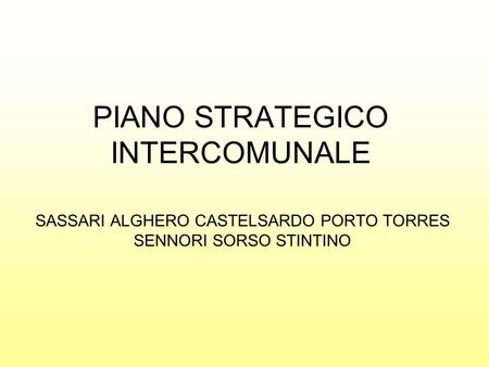 PIANO STRATEGICO INTERCOMUNALE