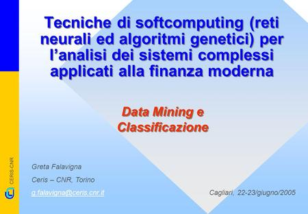 Data Mining e Classificazione