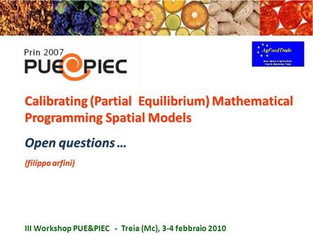 Calibrating (Partial Equilibrium) Mathematical Programming Spatial Models Open questions … (filippo arfini) III Workshop PUE&PIEC - Treia (Mc), 3-4 febbraio.