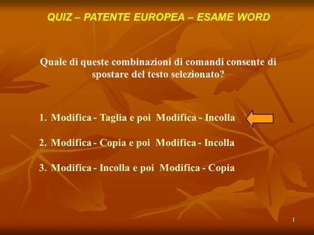 QUIZ – PATENTE EUROPEA – ESAME WORD