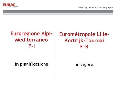 Alice Engl - Institute for Minority Rights Euroregione Alpi- Mediterraneo F-I in pianificazione Eurométropole Lille- Kortrijk-Tournai F-B in vigore.