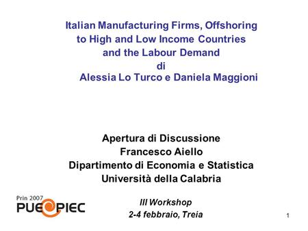 Italian Manufacturing Firms, Offshoring