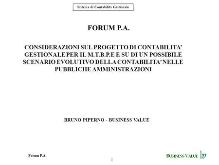 BRUNO PIPERNO - BUSINESS VALUE