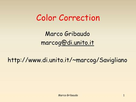 Color Correction Marco Gribaudo