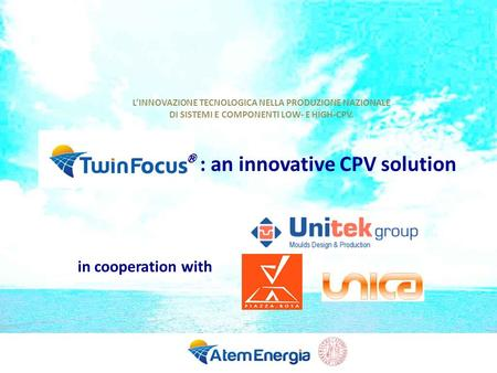 : an innovative CPV solution