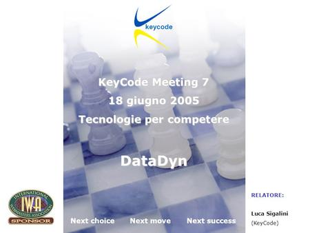 KeyCode next choice next move next success Desenzano del Garda (BS) 18.06.2005 Next choiceNext moveNext success keycode KeyCode Meeting 7 18 giugno 2005.