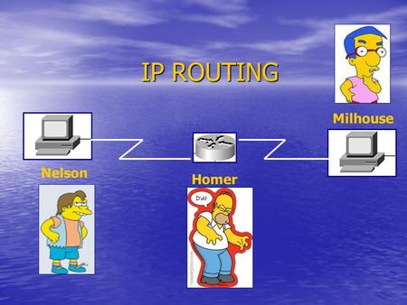 IP ROUTING Homer Nelson Milhouse. Indirizzi IP IP address: IP address:x.x.x.x Esempio: 172.16.10.2 Classe A: primo ottetto da 1 a 126 (16.777.214 host)