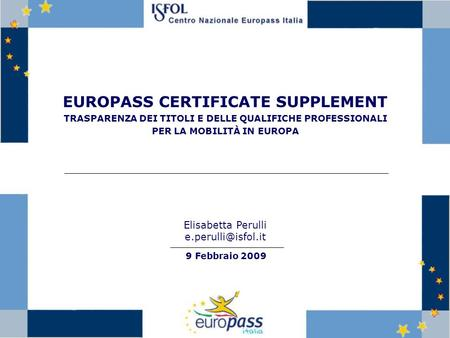 EUROPASS CERTIFICATE SUPPLEMENT