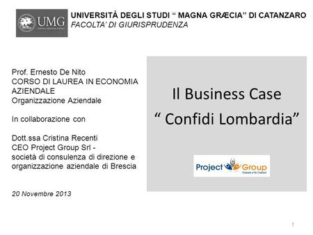"Il Business Case "" Confidi Lombardia"""