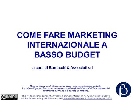 COME FARE MARKETING INTERNAZIONALE A BASSO BUDGET