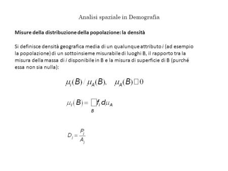 Analisi spaziale in Demografia