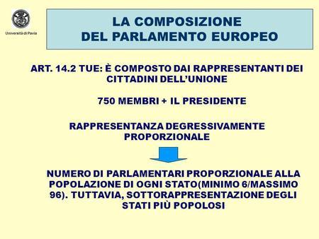 Le istituzioni dell unione europea ppt scaricare for Composizione del parlamento
