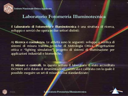 Laboratorio Fotometria Illuminotecnica