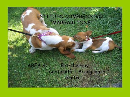 "ISTITUTO COMPRENSIVO ""MARGARITONE"" AREA 4: Pet–therapy"