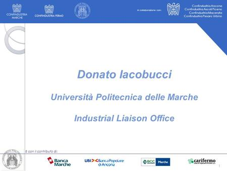 Università Politecnica delle Marche Industrial Liaison Office