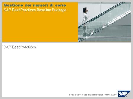 Gestione dei numeri di serie SAP Best Practices Baseline Package SAP Best Practices.