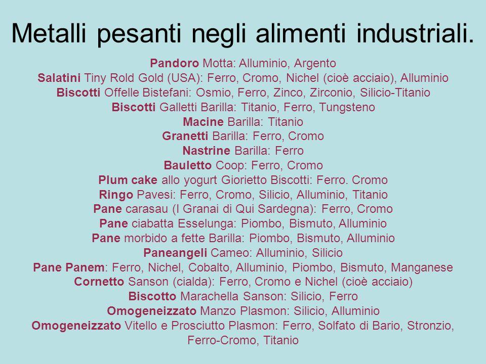 Metalli pesanti negli alimenti industriali.
